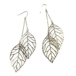 Jewelry - Double Leaf | Outlined Gold Toned Earrings